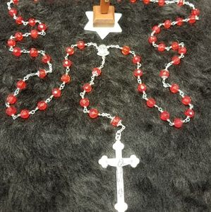 Red Faceted Glass Bead Rosary
